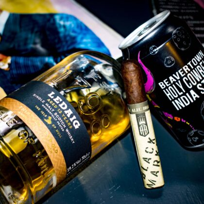 Ledaig Whisky, Beavertown Holy Cowbell and Alec Bradley Black Market Punk Pairing